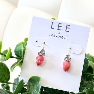 Lee Angel pink Teardrop stone & crystal earrings